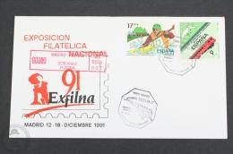 Train/ Railway Topic Cover - Spain Steam Locomotive/ Train - Exfilna 1991 Philatelic Exhibition - Trains