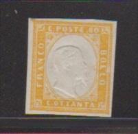 Italie //  N 9  // 80 C Jaune  //  NEUF Sans Gomme - 1861-78 Victor Emmanuel II.