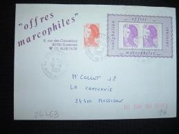 LETTRE PORTE-TIMBRE TOUTGHALIAN TP LIBERTE DE GANDON 0,90F X2 + 0,30F OBL. 19-11-1990 ST CLOUD COTEAUX (92) - 1982-90 Liberty Of Gandon