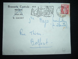 LETTRE TP MARIANNE DE MULLER 25F OBL.MEC. 9-5-1959 MEGEVE (74 HAUTE-SAVOIE) + BRASSERIE CENTRALE + R. GACHET - Marcophilie (Lettres)