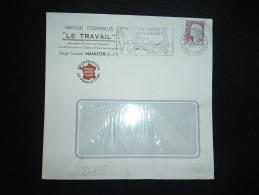 LETTRE TP MARIANNE DE DECARIS 0,25F OBL.MEC. 2-12-1960 MAULEON-SOULE (64 PYRENEES ATLANTIQUES) + LE TRAVAIL - Postmark Collection (Covers)