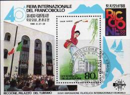 BMA Riccione Italien 1988 Korea Block 235 O 1€ Architektur Kultur Tanz Einer Frau Dancing Bloc Philatelic Sheet Of Corea - Dance