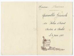 Menu - Assemblée Générale Des Poilus D´Orient Section De Senlis - 5 Juin 1932 - Menus