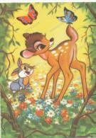 BAMBI, Rabbit And Butterflies -  Lapin Et Papillons,, Old Postcard - Disneyland