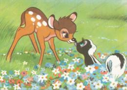 BAMBI, And Ferret -  Lapin Et Furet,, Old Postcard - Disneyland