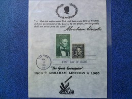 1965 USA Souvenir Leaf FDC Scott # 1282 Lincoln Definitive - First Day Covers (FDCs)