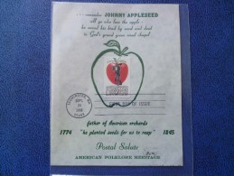 1966 USA Souvenir Leaf FDC Scott # 1317 Johnny Appleseed - First Day Covers (FDCs)
