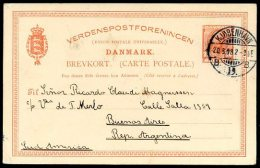 DENMARK TO ARGENTINA Postal Stationery 1908 RARE DESTINATION! - Lettere