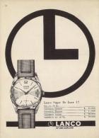 # LANCO LANGENDORF WATCH COMPANY SUISSE 1950s Italy Advert Publicitè Reklame Orologio Montre Uhr Reloj Relojo Watch - Montres Publicitaires