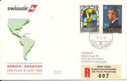 Liechtenstein Swissair First Flight Zurich - Caracas 8-6-1985 - Liechtenstein