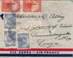 1950? - Argentinien, 5 Sondermarken Auf Brief Via Air France > Dübendorf Schweiz - Argentinien