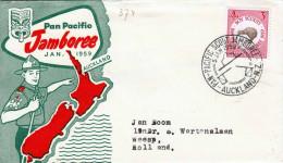 """1959 - Neuseeland New Zealand, 3 D Boy Scouts Auf Brief """"Pan Pacific Jamboree Jan 1959 Aukland"""" Gel. Aukland > Weesp ... - Neuseeland"""