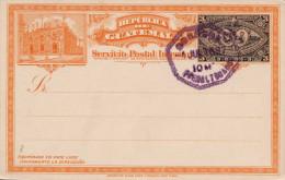 1897 - Guatemala, 3 Centavos Ganzsache Auf Orangefarbiger Litho Postkarte, 8 Eck Stempel 4.Jul.1897 - Guatemala
