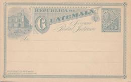 1897 - Guatemala, 3 Centavos Ganzsache Auf Grünfarbiger Litho Postkarte Nicht Gelaufen - Guatemala