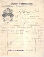 PARIS - FABRIQUE DE COULEURS & VERNIS - ENCRES D'IMPRIMERIE - LEFRANC & CIE - FACTURE + MANDAT - 1909 - Imprimerie & Papeterie