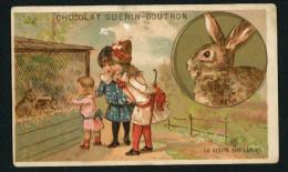 Chocolat Guérin Boutron, Chromo Lith. Champenois TM34-19, Animaux De La Ferme, Enfants, Lapins Sur Médaillon Doré - Guérin-Boutron