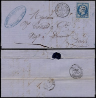 France 1865 Postal History Rare Cover + Content Montfort-sur-Risle To Drucourt - Railroad Cancel D.777 - Andere