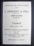 Pu. 32. Fabrique De Bonneterie, Tarif Saison D'hiver 1929. Duhant Et Fils Quevaucamps - Publicidad