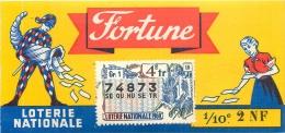 BILLET DE LOTERIE NATIONALE 1960 FORTUNE 4EM TRANCHE - Billets De Loterie