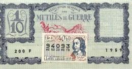 BILLET DE LOTERIE NATIONALE 1959  MUTILES DE GUERRE - Billets De Loterie