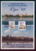 POLAND 1995 XVII WARSAW NATIONAL & RIGA PHILATELIC EXPOS COMM FOLDER JOINT ISSUE WITH LATVIA - Emissioni Congiunte
