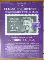 1963 USA P.O.Poster FDC Sc # 1236 Eleanor Roosevelt - First Day Covers (FDCs)