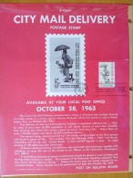 1963 USA P.O.Poster FDC Sc # 1238 City Mail Delivery Centenary - First Day Covers (FDCs)