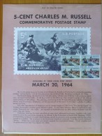1964 USA P.O.Poster FDC Sc # 1243 Charles M Russell (Block Of 4) - First Day Covers (FDCs)