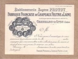 LOIRE - CHAZELLES SUR LYON - CARTE DE VISITE - FABRIQUE FRANCAISE DE CHAPEAUX DE FEUTRE & LAINE - EUGENE PROVOT - Visiting Cards