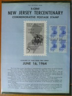 1964 USA P.O.Poster FDC Sc # 1247 New Jersey 300th (Block Of 4) - First Day Covers (FDCs)