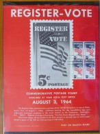 1964 USA P.O.Poster FDC Sc # 1249 Register & Vote (Block Of 4) (Flags) - First Day Covers (FDCs)