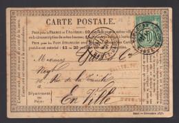 FRANCE 1877 N° 65 Obl. Seul S/CP C à D Toulouse - 1876-1898 Sage (Type II)