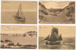 Middelkerke. Bâteaux De Pêche. Vissersboten. Au Large & Coup D'oeil à Travers Les Dunes. Lot De 4 - Middelkerke