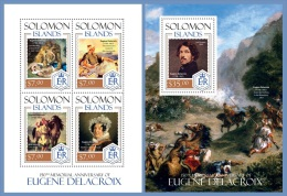 slm14218ab Solomon Is. 2014 Painting Eugene Delacroix 2 s/s Horse