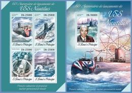 st14214ab S.Tome Principe 2014 USS Nautilus Submarines 2 s/s