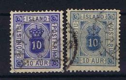 Iceland  Mi Nr 5 , Yv Nr  6 + 6 A Used  Service, Blue And Ultramrin - Dienstzegels