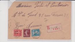 1926 - RHONE - ENVELOPPE RECOMMANDÉE De TARARE - Storia Postale