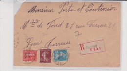 1926 - RHONE - ENVELOPPE RECOMMANDÉE De TARARE - Postmark Collection (Covers)