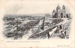 13 - Marseille - Le Quai De La Joliette Et La Cathédrale - Joliette, Zone Portuaire