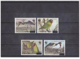 (WWF-208) W.W.F. Zambia Stork /  Parrot / Bird MNH Stamps 2003 Surcharge On 1996 - RARE - W.W.F.