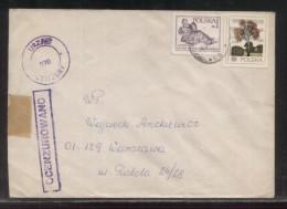 POLAND 1982 LETTER GARWOLIN TO WARSZAWA OCENZUROWANO CENSORED VIOLET CACHETS CENSOR STATION 070 - 1944-.... República