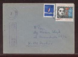 POLAND 1982 LETTER MUSZYNA TO KRAKOW OCENZUROWANO CENSORED VIOLET CACHETS CENSOR STATION 068 - 1944-.... República