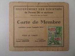 Carte De Membre Groupement Des Sinistrés De Perwez Et Environs 1945 - Documents