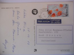 Kenya Carte De Mombasa 1983 Pour La Suisse - Kenya (1963-...)