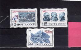 RUSSIA - URSS - RUSSIE 1989 FRENCH REVOLUTION BICENTENARY COMPLETE SET BICENTENARIO RIVOLUZIONE FRANCESE SERIE MNH - 1923-1991 USSR