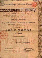 BRUXELLES « Charbonnages, Mines & Usines De GOSSOUDARIEFF-BAÏRAK Sa » - Part De Fondateur - Russie