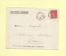 Lettre Ocean - Bordeaux 1930 - 50c Semeuse Lignee - Compagnie Radio Maritime - Postmark Collection (Covers)