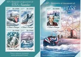 S. Tomè 2014, Submarine, Nautilus, 4val In BF +BF - Sao Tome En Principe