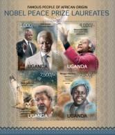 UGN13120a Uganda 2013 Nobel Prize Peace Owl Pigeon s/s