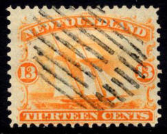 Newfoundland #30 Used 13c Orange Fishing Ship From 1865 - Newfoundland